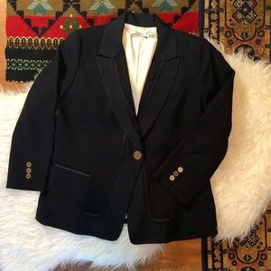 T Tahiti Navy and Bonze Textured Blazer